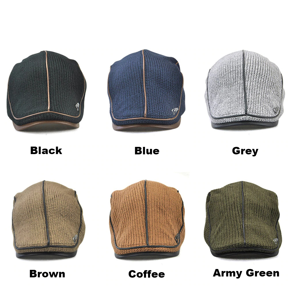 10a3a17785f08f Knitted Leather Flat Cap Visor Snapback Fashion Hat for Men for sale ...