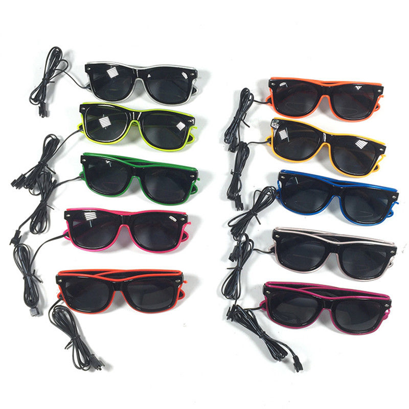 Fashion LED EL Wire Glasses Light Up Sunglasses Eyewear Shades DJ ...