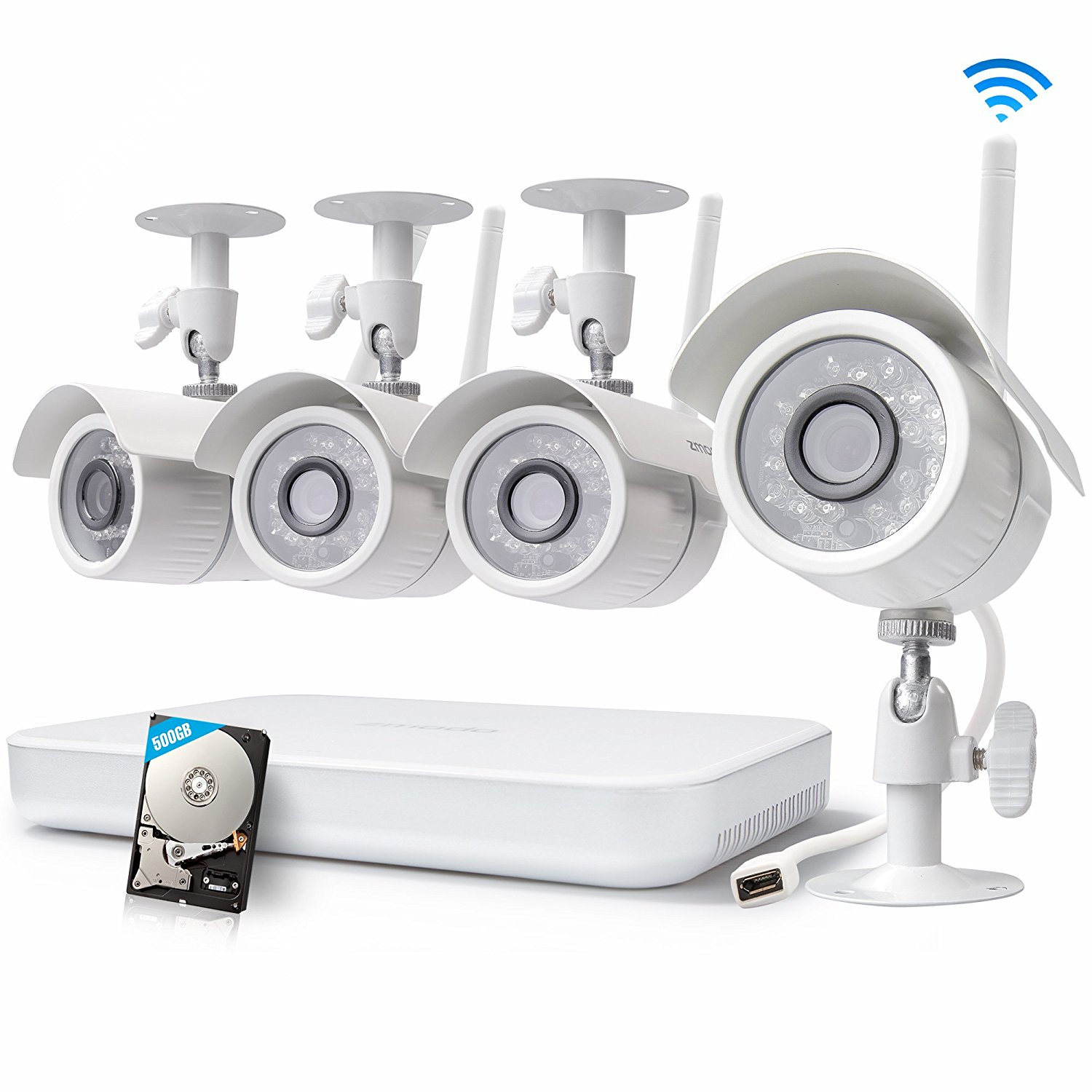 500 GB 8 Channel Indoor and Outdoor High Definition Wireless Security  Camera System