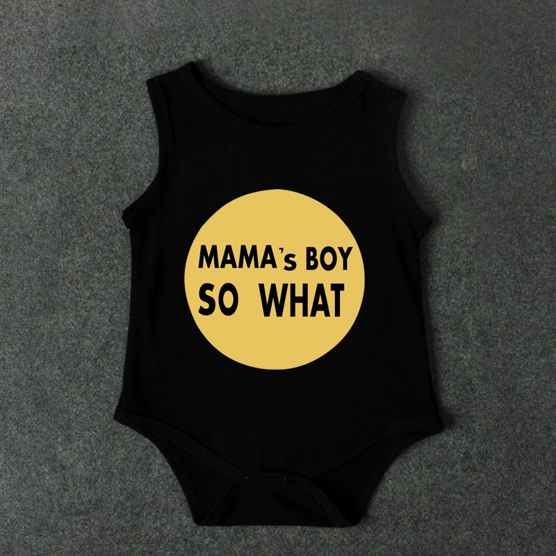 b00843865 Sleeveless Cotton Mama's Boys So What Printed Baby Boys Bodysuit One Piece  Jumpsuit Onesie