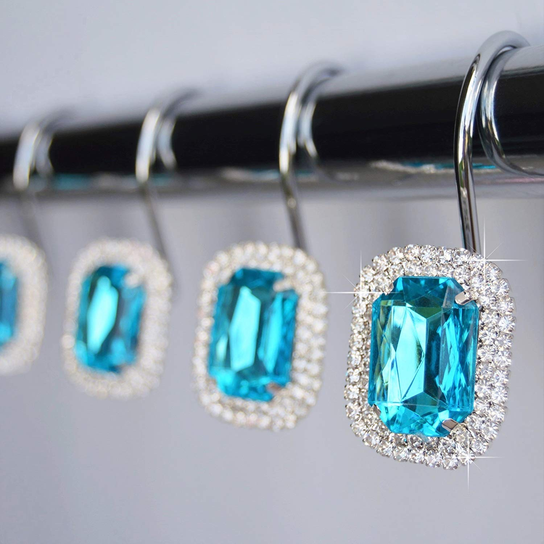 Luxurious Crystal Diamond Bling Rhinestones Bathroom Shower Curtain Hooks Rings