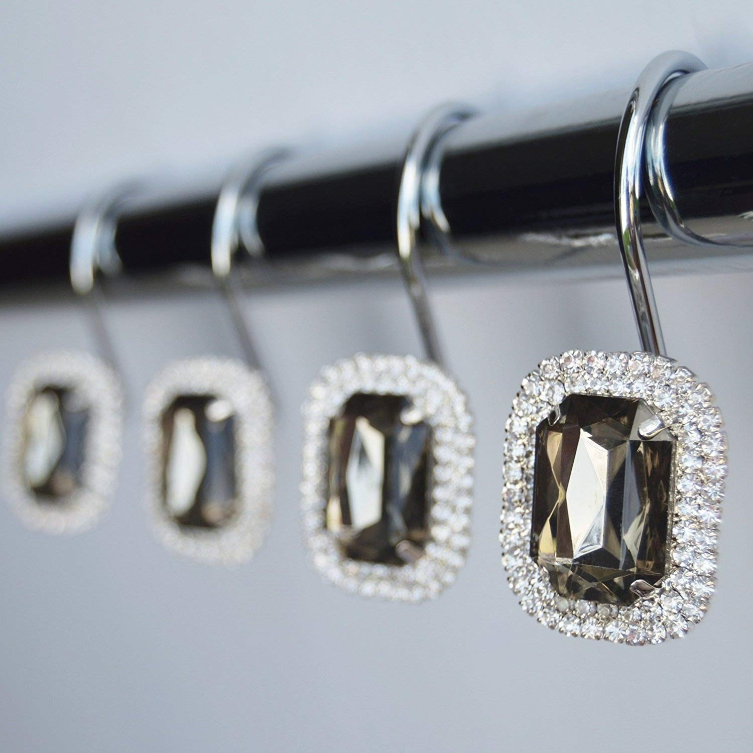 Luxurious Crystal Diamond Bling Rhinestones Bathroom Shower Curtain Hooks Rings