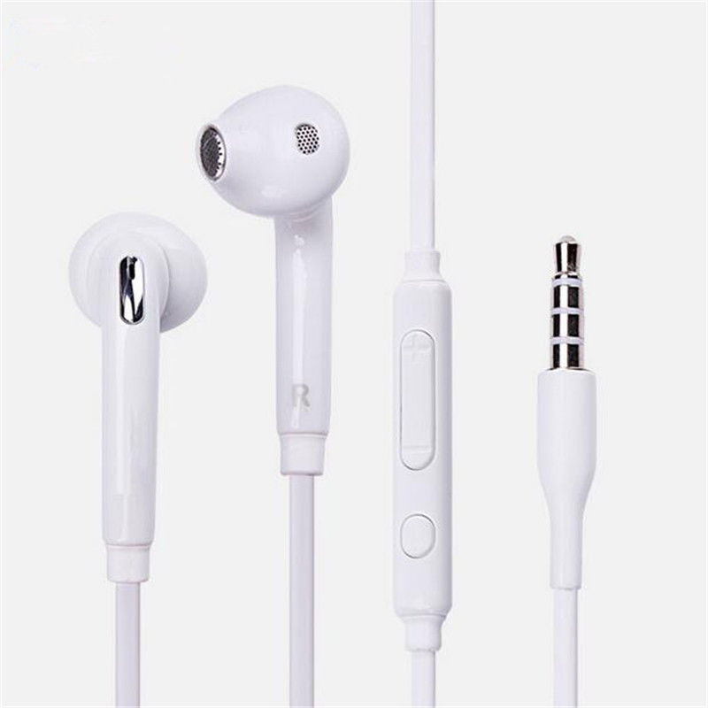 Earbuds with mic volume control - white earbuds volume control