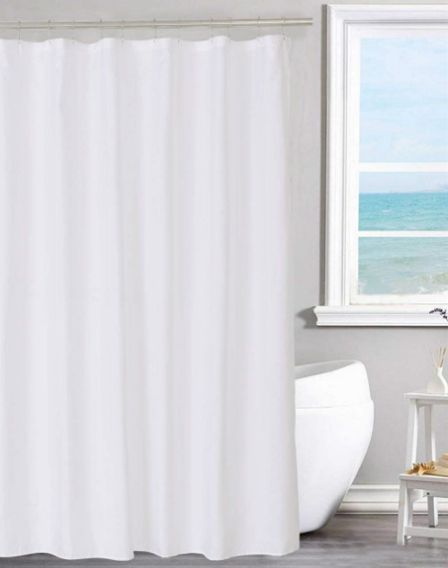 Fabric Solid White Non Toxic Shower Curtain Liner