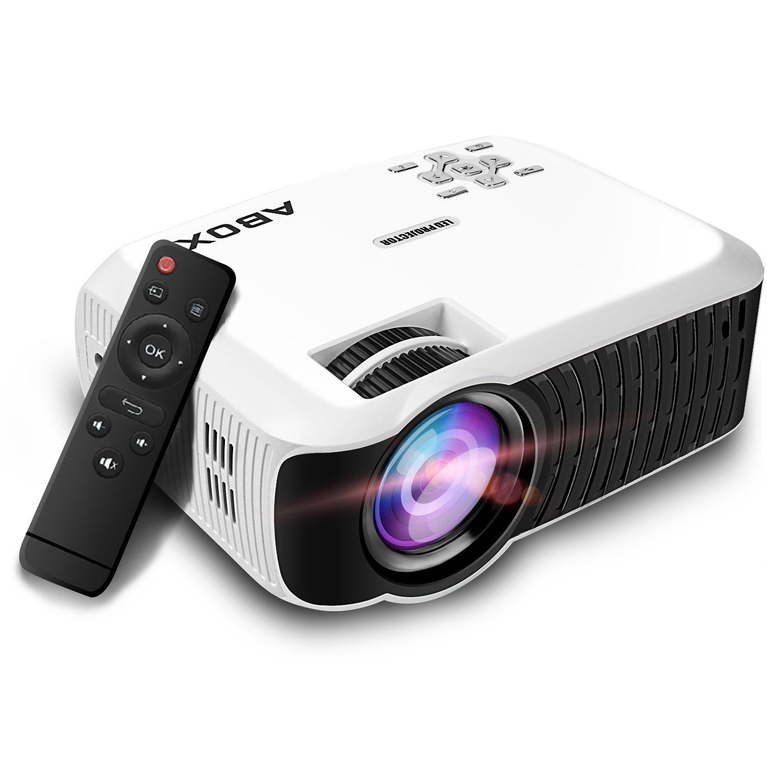 Lumens portable upgraded 2400 lcd video projector abox t22 for Portable video projector