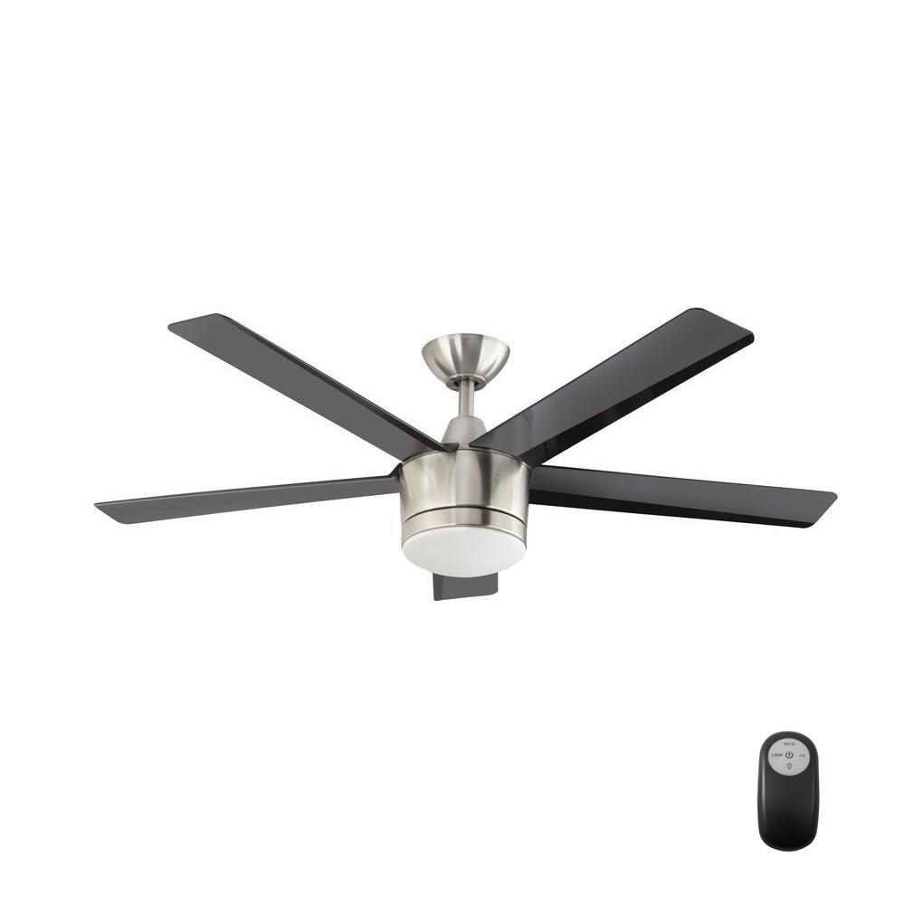 Merwry 52 in led indoor brushed nickel ceiling fan with light kit led indoor brushed nickel ceiling fan with light kit and remote control aloadofball Choice Image