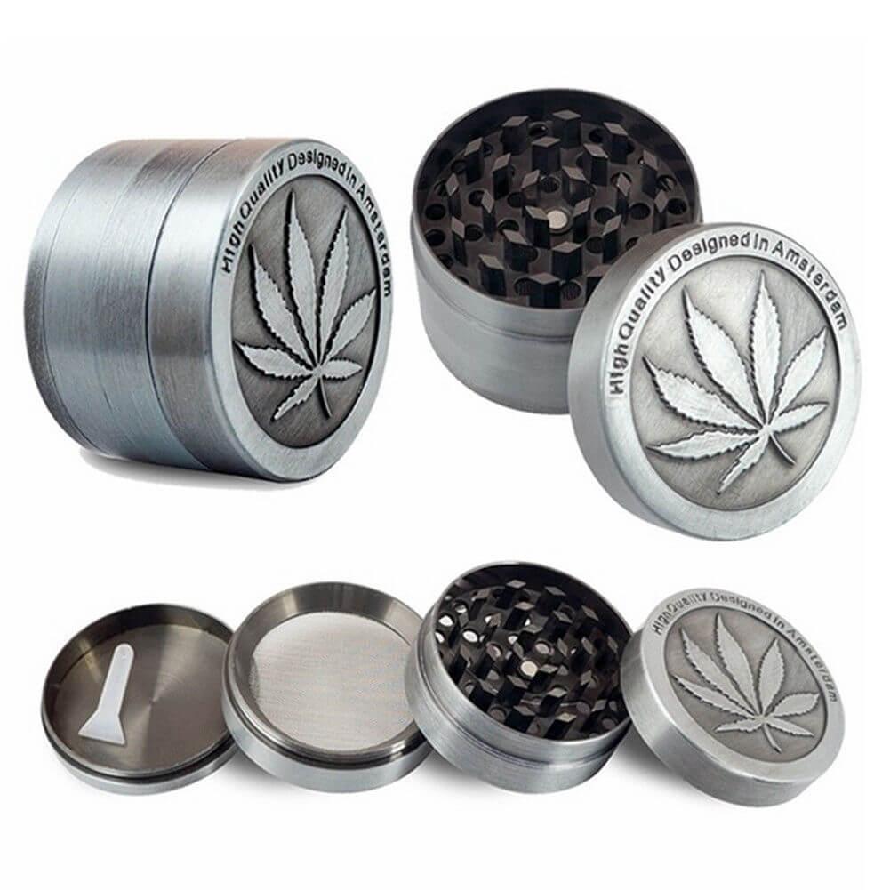 New 4-Piece Herb Grinder Spice Tobacco/Weed Smoke Zinc Alloy ...