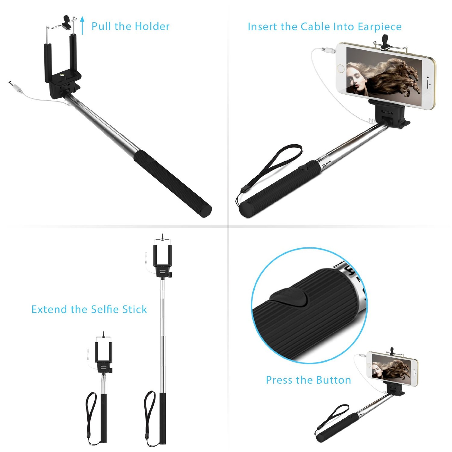 selfie stick cable control no battery no bluetooth for sale in jamaica. Black Bedroom Furniture Sets. Home Design Ideas