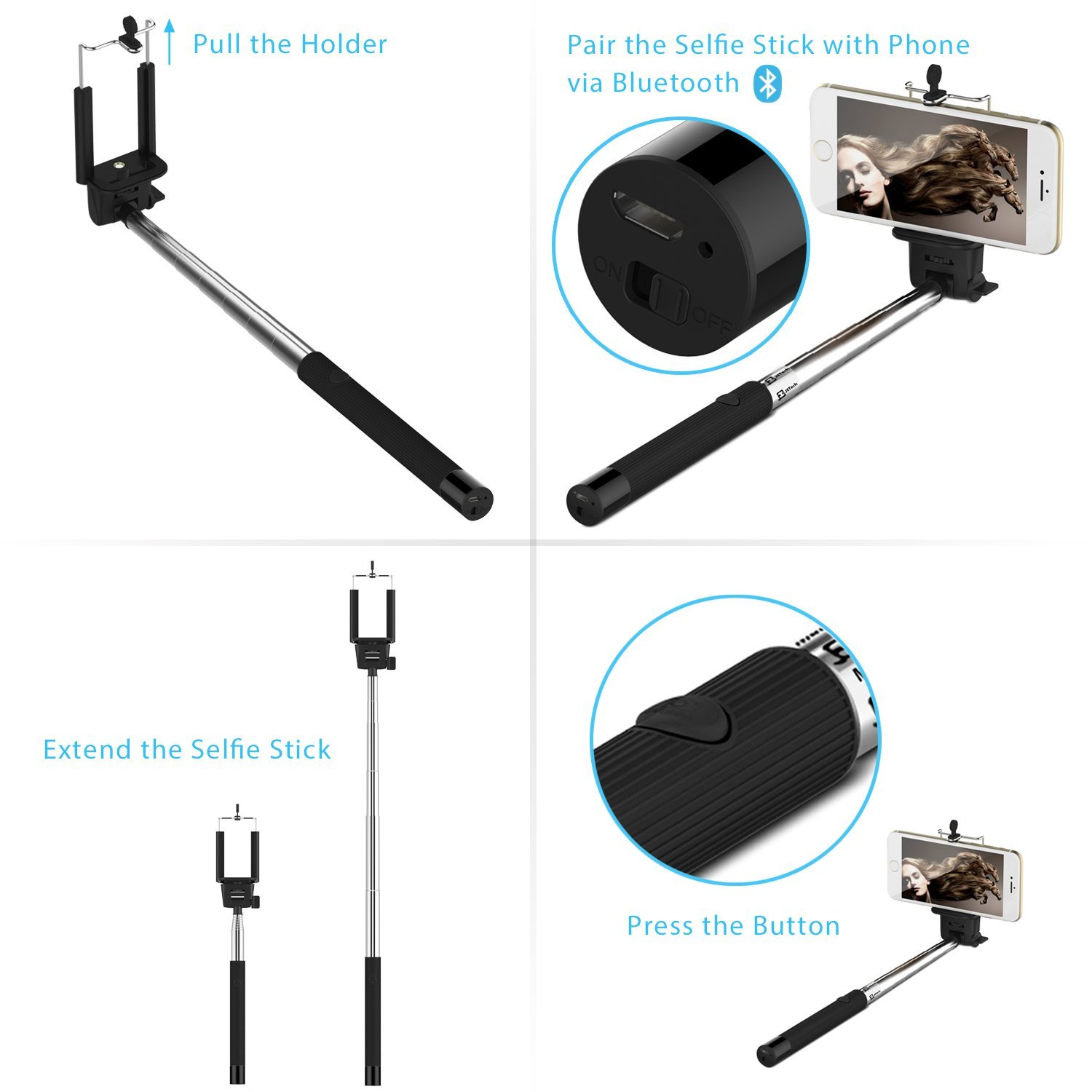 selfie stick cable control with bluetooth. Black Bedroom Furniture Sets. Home Design Ideas