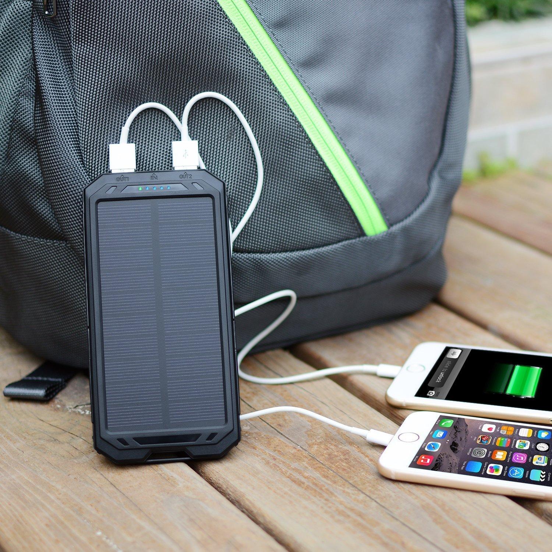 Solar Dual Usb Portable Power Bank Charger 12000mah For