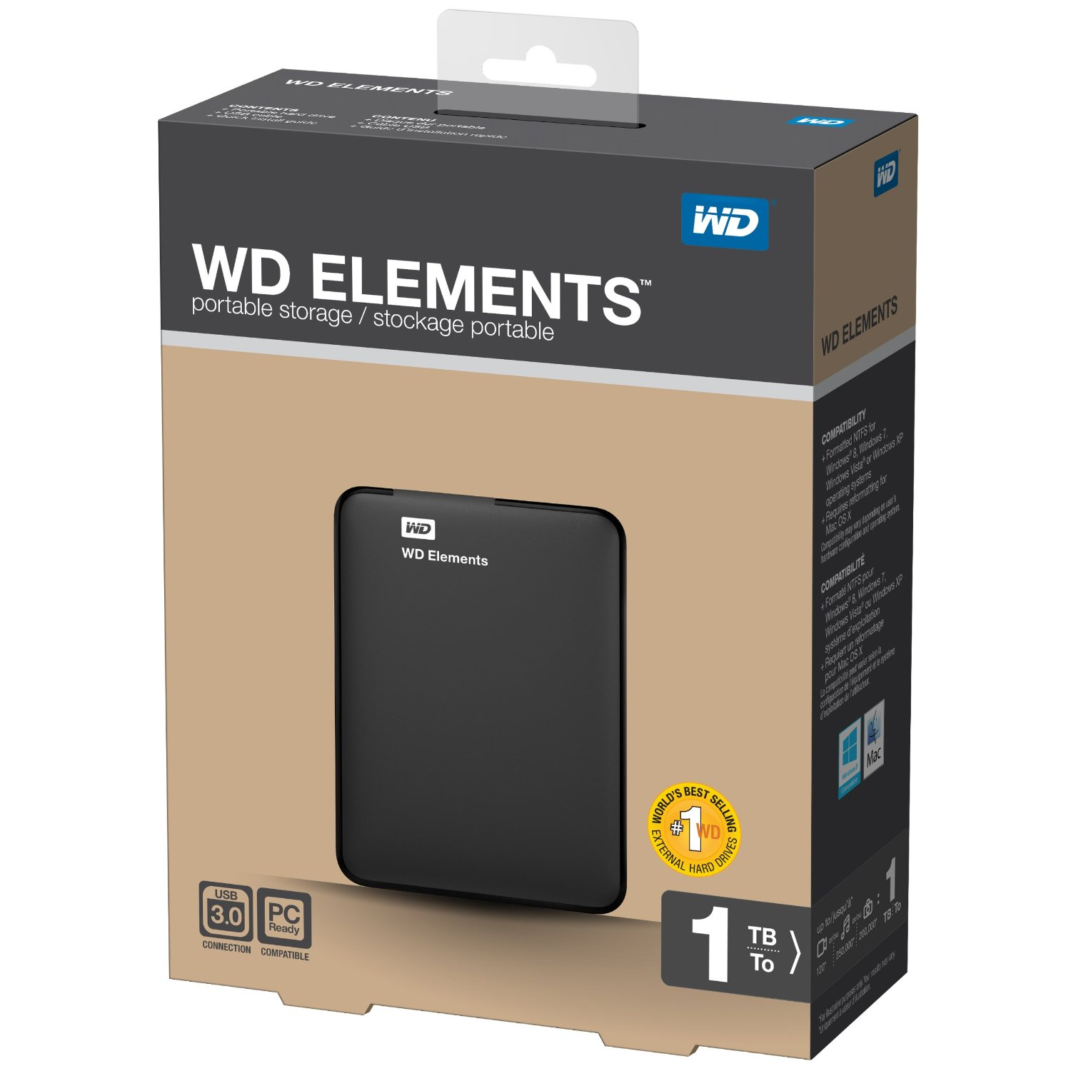 wd elements 1tb portable usb 3 0 hard drive storage for sale in jamaica. Black Bedroom Furniture Sets. Home Design Ideas