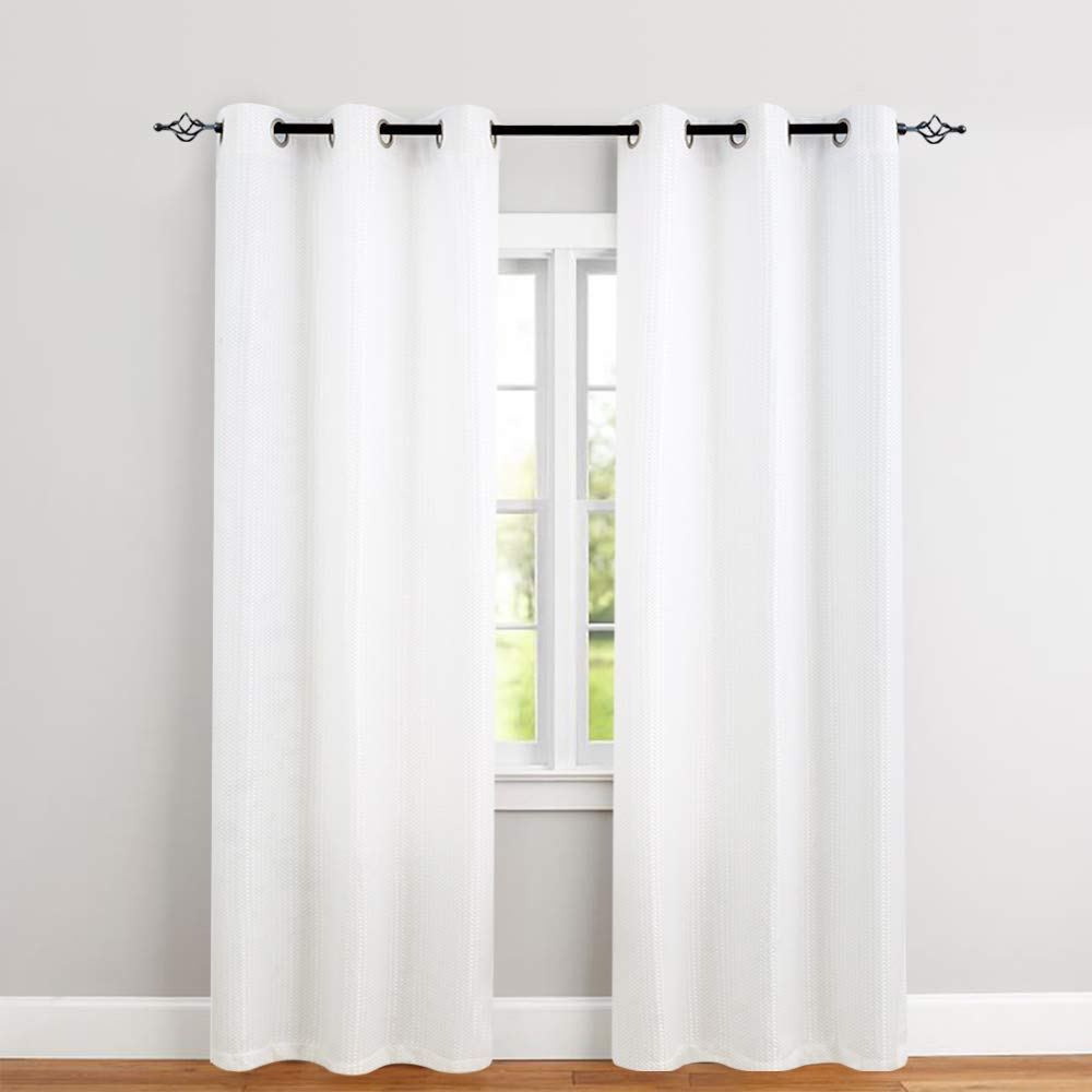 Waffle Weave Textured Curtain Panels 84 Inches For Living Room