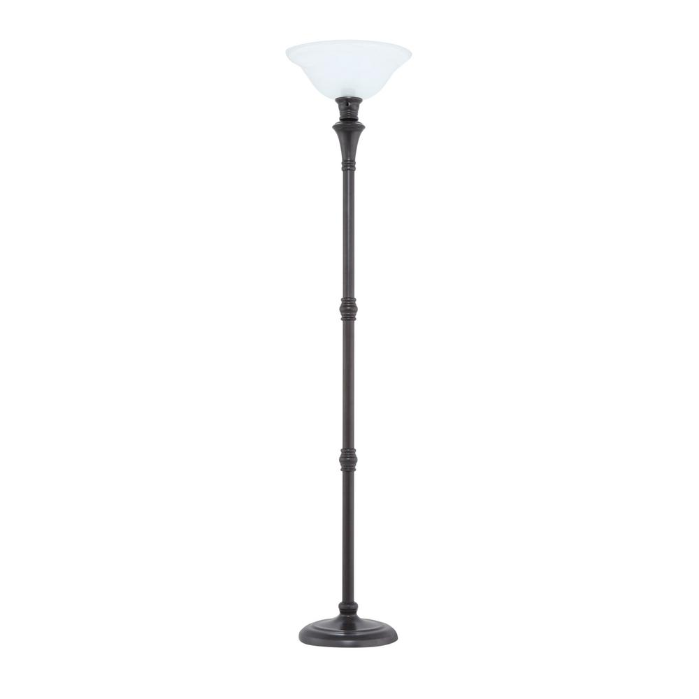 72 75 In Bronze Floor Lamp With White Alabaster Shade For