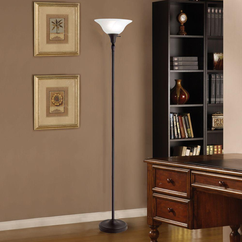 72 in bronze torchiere floor lamp with frosted glass shade for sale 72 in bronze torchiere floor lamp aloadofball Image collections