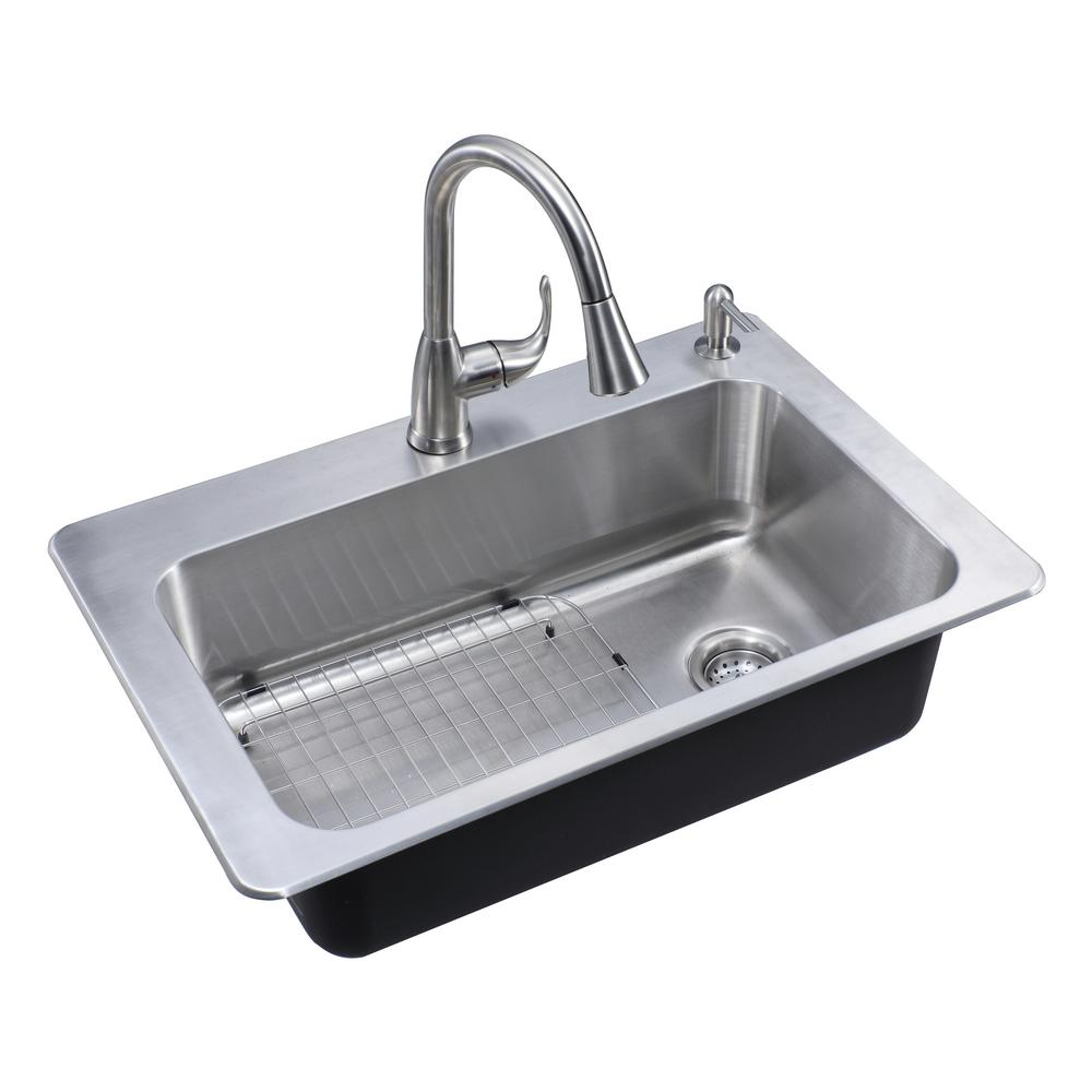 Glacier Bay All In One Drop In Stainless Steel 33 In 2 Hole Single Bowl Kitchen Sink For Sale