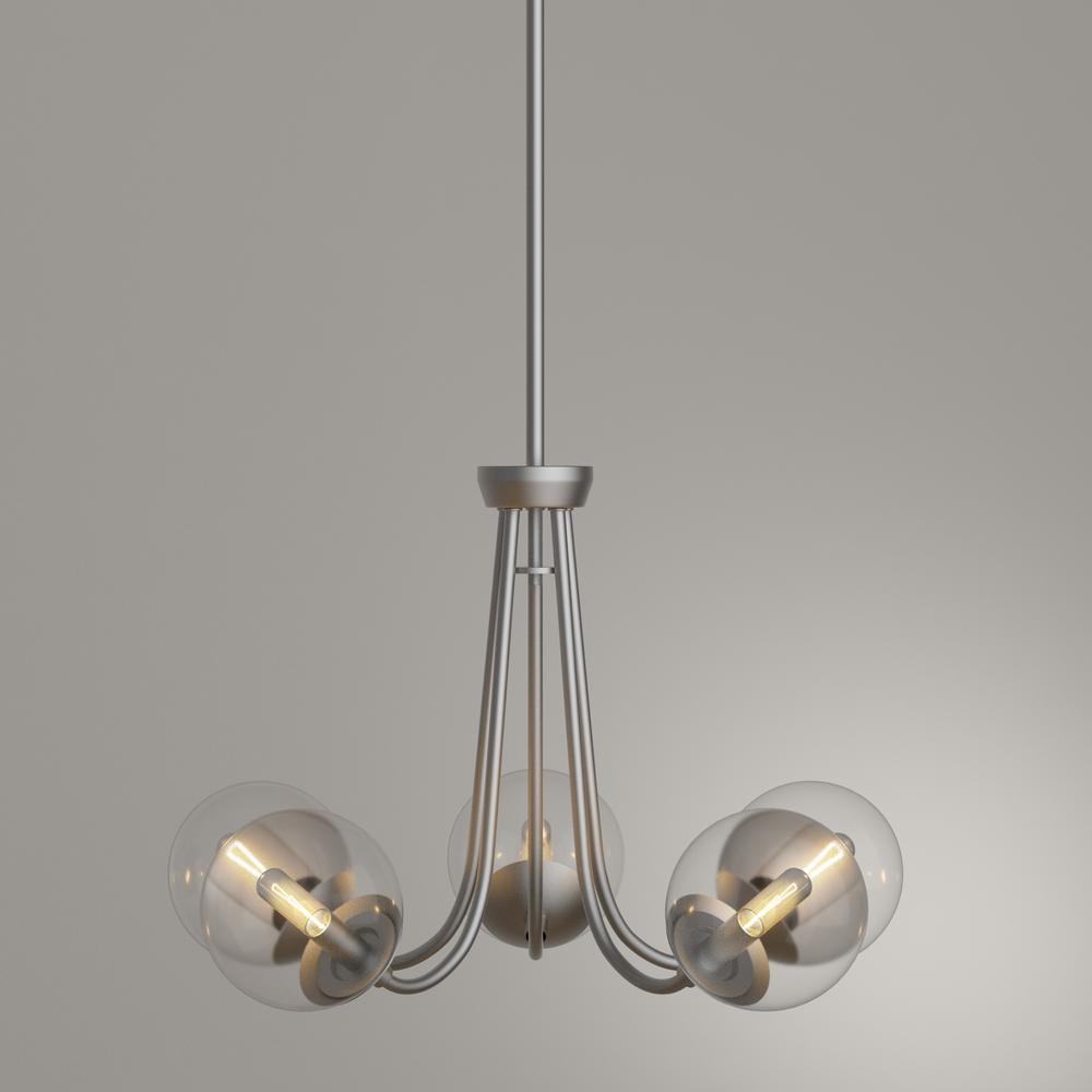 5 Light Brushed Nickel Chandelier With Globe Clear Glass
