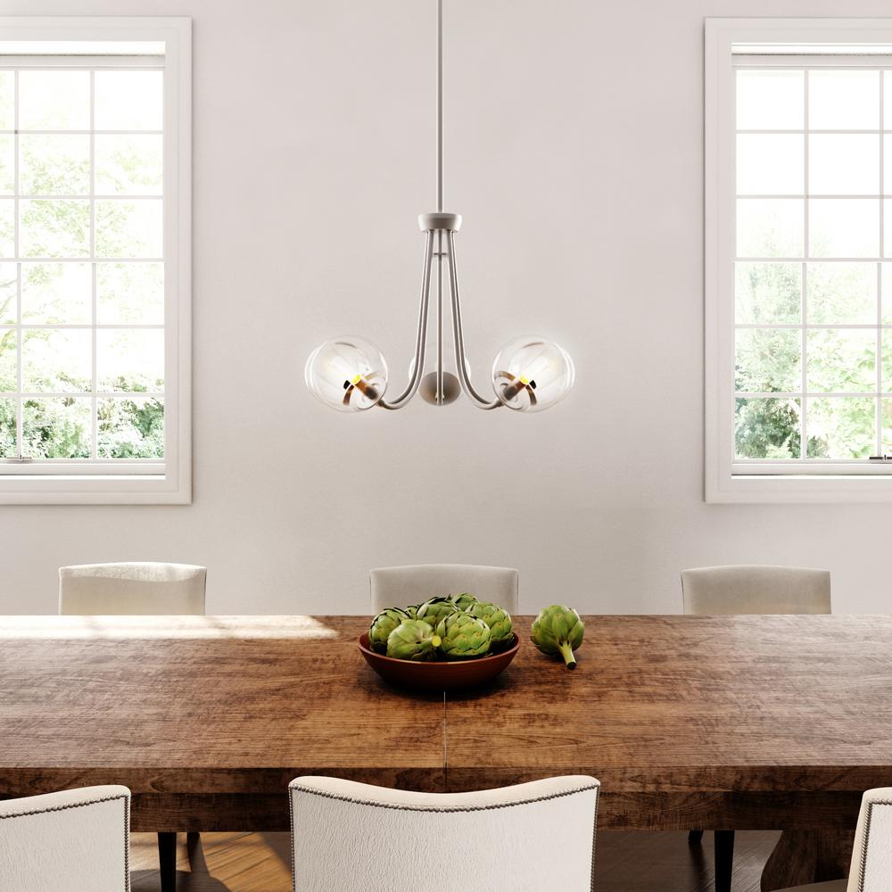 5-Light Brushed Nickel Chandelier With Globe Clear Glass