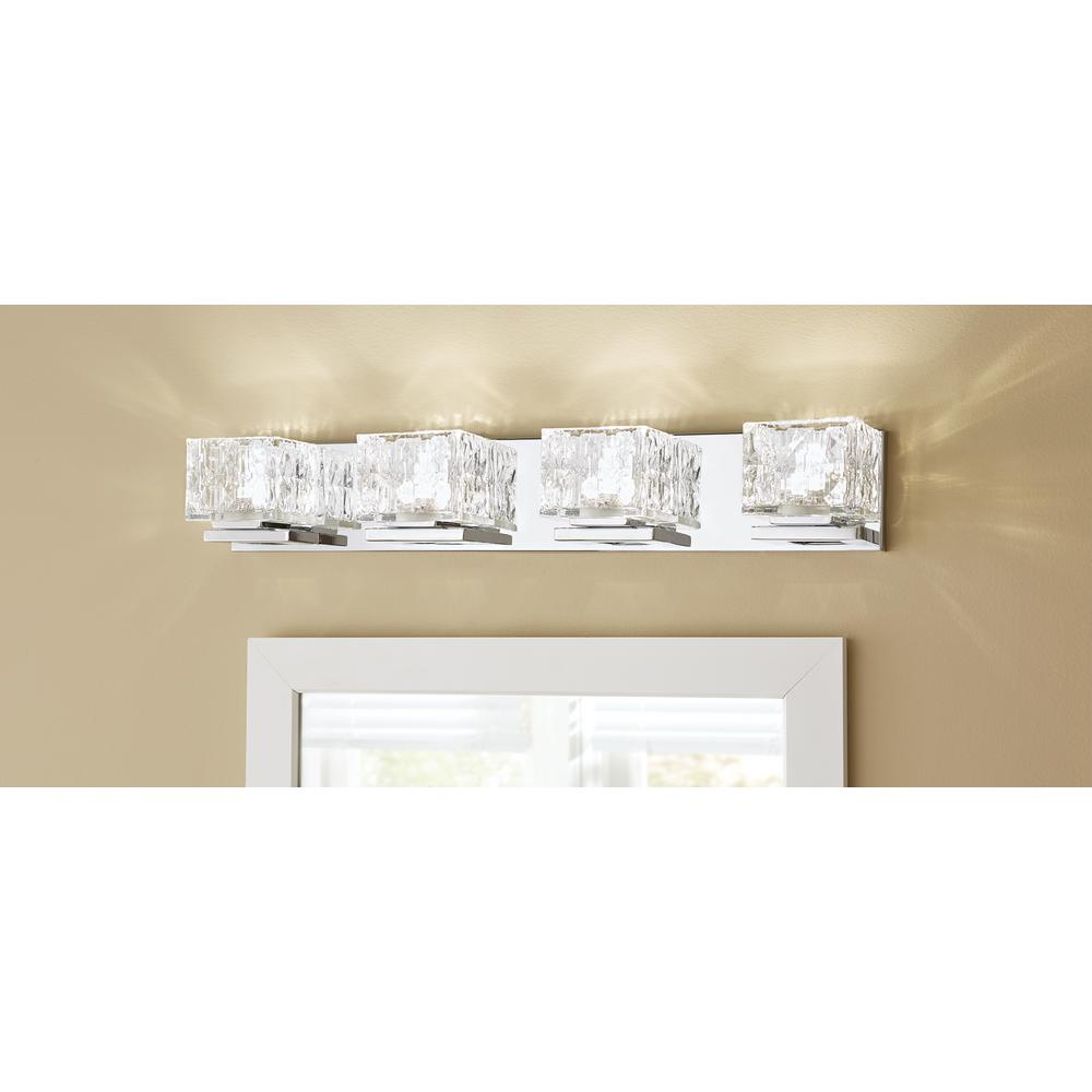 75 Watt Equivalent 4 Light Chrome Integrated Led Vanity Light With Clear Cube Glass For Sale In