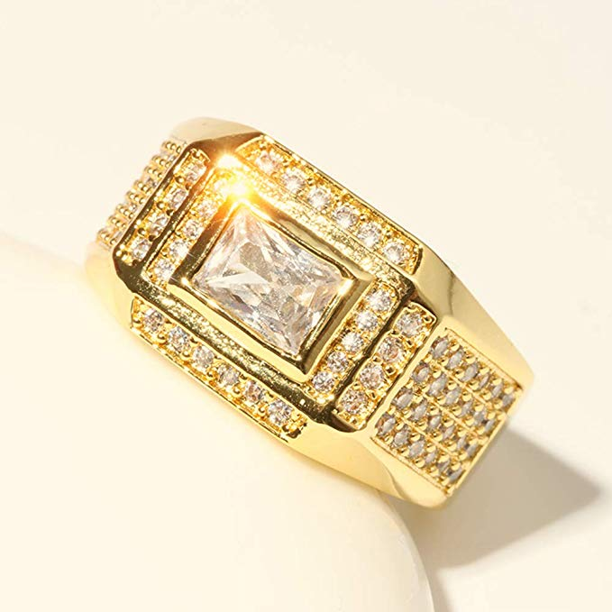 389009a38217b Engagement Wedding 18K Gold Plated Men Ring Embedded With AAA Zircon