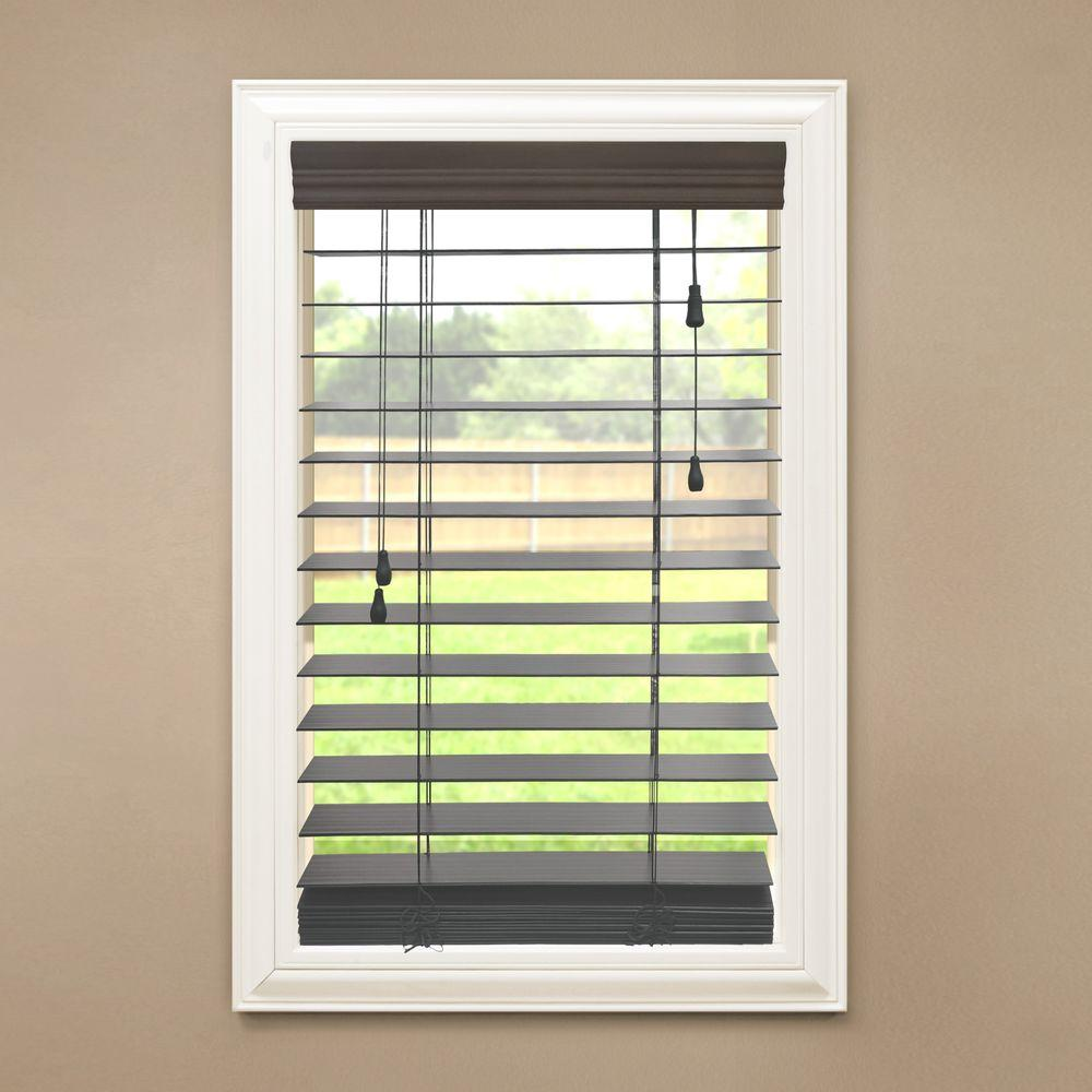 Espresso 2 1 2 In Premium Faux Wood Blind 34 In W X 64 In L For Sale In Jamaica