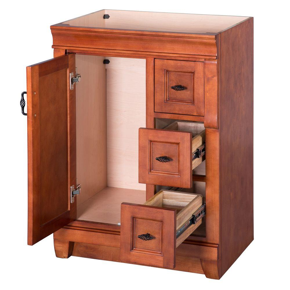 Foremost vanities without tops warm cinnamon drawers open for Bathroom cabinets jamaica