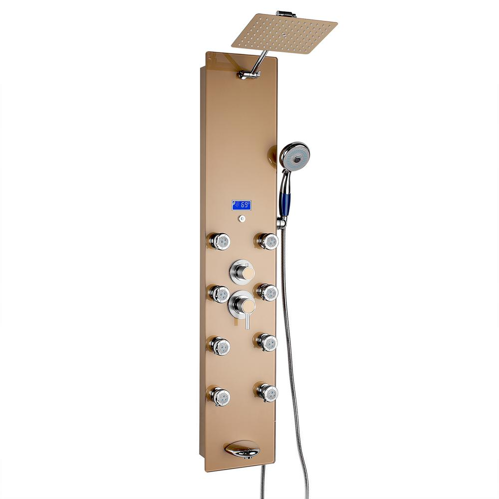 Akdy 52 In 8 Jet Shower Panel System In Gold Tempered