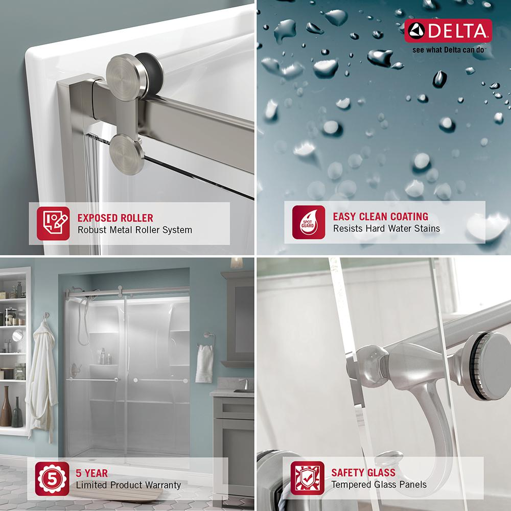Delta 48 In To 60 In Contemporary Sliding Shower Door