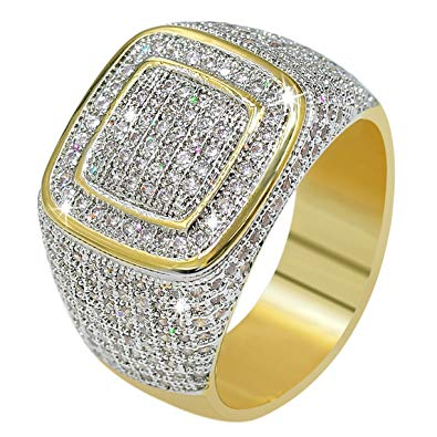 Jinao 18k Gold Cluster Iced Out Lab Simulated Diamond Band Micro Pave Men Bling Ring For Sale In