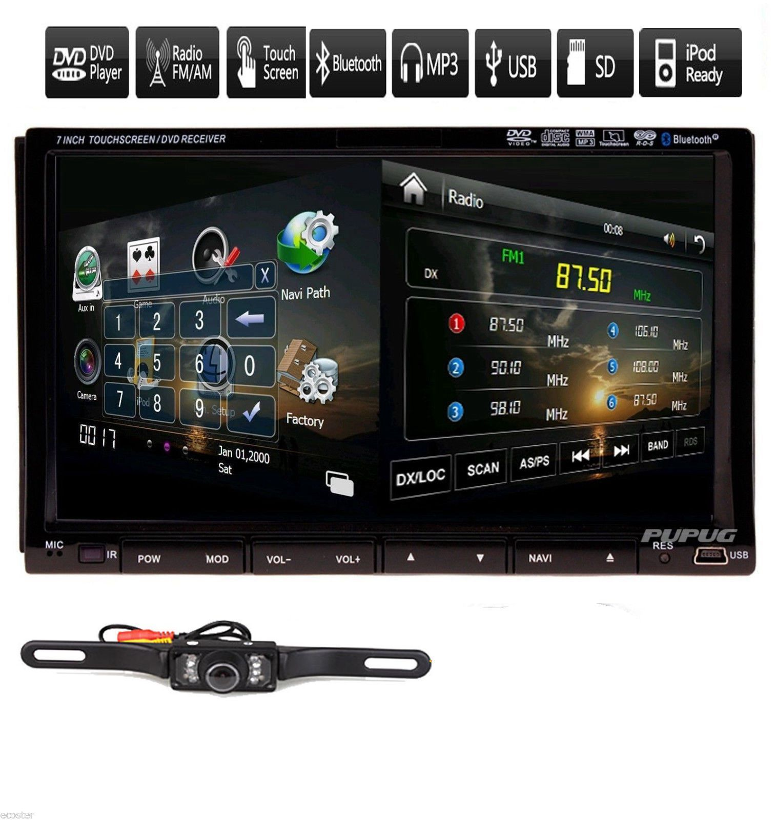 "7"" HD Touch Screen Double 2 DIN Car GPS Stereo For Sale In"