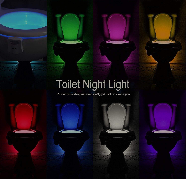 2Pack Fit Any Toilet Bowl,Toilet Bowl Light with Two Mode Motion Sensor LED Washroom Night Light 8-Color Led Motion Activated Toilet Seat Light by AUSAYE Toilet Night Light