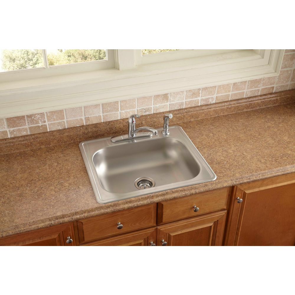 Glacier Bay Drop In Stainless Steel 25 In 4 Hole Single Bowl Kitchen Sink For Sale In Jamaica