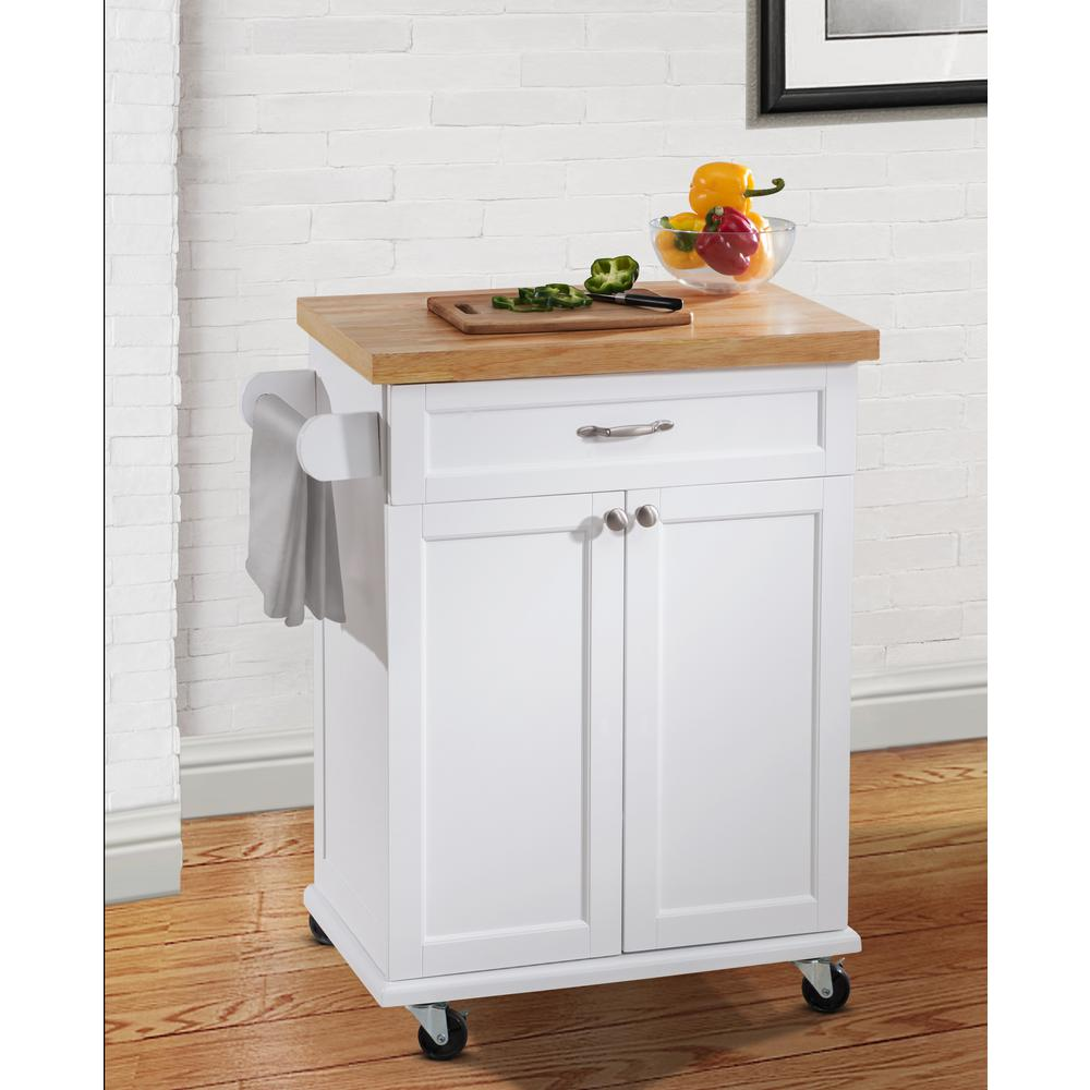 Hampton Bay Ashby White Kitchen Cart